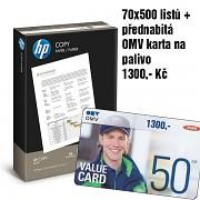 Papír HP COPY 70x500 listů + OMV karta na palivo 1300,- Kč A4 80g bílá