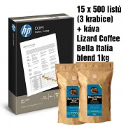 Papír HP COPY 15x500 listů + káva LIZARD Bella Italia 1Kg A4 80g bílá