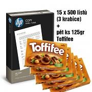 Papír HP COPY 15x500 listů + TOFFIFEE 5x 125g A4 80g bílá