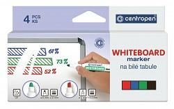 Popisovač bílé tabule Centropen 8569 1-4,5 mm klínový hrot 4-sada