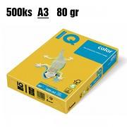 Papír IQ Color barevný A3 80g zářivě žlutá IG50