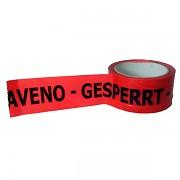 Lepicí páska - potištěná: ZASTAVENO - GESPERRT černý text na červené pásce 5cm x 66 metrů