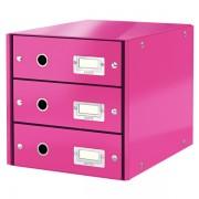 Zásuvkový box Leitz Click & Store se 3 zásuvkami Metalická růžová