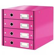 Zásuvkový box Leitz Click & Store se 4 zásuvkami Metalická růžová
