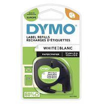 Dymo páska LetraTag 12mm_x_4m černý_tisk_bílá_páska papírová páska