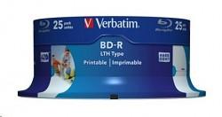 BD-R Verbatim BLU-RAY LTH 6x 25GB SL 25 ks spindl wide pritable