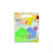 Samolepící plastové záložka Stick'n ve tvaru šipky extra silná, 2x10 záložek, zelená+modrá