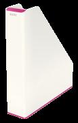 Dvoubarevný stojan na časopisy Leitz WOW bílo-růžový