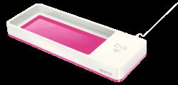 Stolní organizér s bezdrátovou nabíječkou Leitz WOW růžovo-bílý