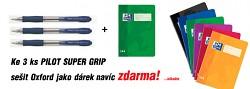 Kuličková tužka Pilot Super_Grip modrá 3ks + blok OXFORD A5 jako dárek ZDARMA