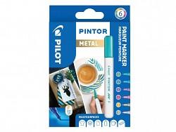 Popisovač pigmentový Pilot PINTOR pro DIY použití hrot F 6-sada Metal