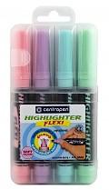 Zvýrazňovač Centropen Highlighter Flexi SOFT COLOURS 8542 klínový hrot 4-sada pastelové barvy