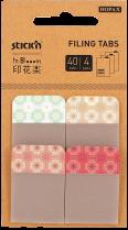 """Samolepící plastové záložka Stick'n  In Blooom 38 x 25 mm extra pevná, 4x10 záložek """"kytičky"""""""