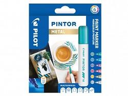 Popisovač pigmentový Pilot PINTOR pro DIY použití hrot M 6-sada Metal