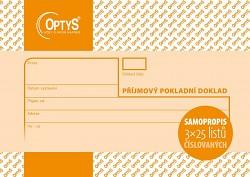 Příjmový pokladní doklad A6 NCR OPTYS 3 x 25 listů číslovaný