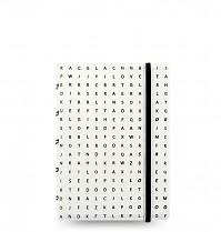 Poznámkový blok FILOFAX NOTEBOOK IMPRESSIONS A7 kapesní bílá/černá písmena  DOPRODEJ!!!