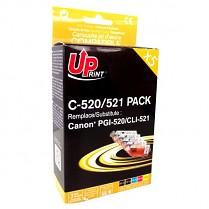 UPrint kompatibilní ink s CLI521, 2xblack/1xcyan/1xmagenta/1xyellow, C-520/521 PACK, pro Canon iP3600, iP4600, MP620, MP630, MP980 DOPRODEJ!!!