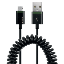 Stočený kabel Leitz Complete s oboustranným Micro USB na USB, 1 m Černá