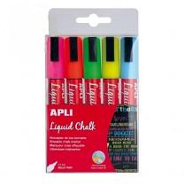 Popisovač křídový tenký APLI 5,5 mm kulatý hrot 5-sada mix fluo barev