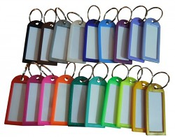 Visačka na klíče velká s kroužkem 6cm mix barev