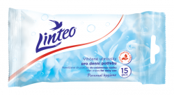Ubrousky vlhčené LINTEO pro denní potřebu 15 kusů s alkoholem antibakteriální