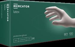 Rukavice jednorázové Mercator jemně pudrované latex 100ks medium bílé