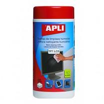 Čisticí ubrousky APLI vlhčené TFT/LCD 100 kusů v dóze