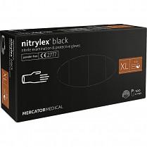 Rukavice jednorázové Mercator Nitrylex Black nitril nepudr. 100 ks XL černé