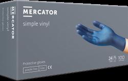 "Rukavice jednoráz. Mercator Simple Vinyl nepudr. vinylové 100 ks modré ""M"""