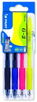 Roller gel. Pilot G-2 Neon 0,7 mm set2go 4-sada