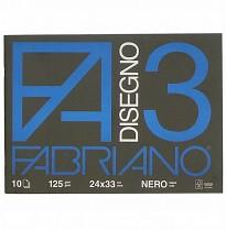 Skicák Fabriano Disegno 3 černý 24x33cm 125g 10 listů
