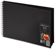 Blok s černými papíry Fabriano 190g A4 kroužková vazba 40 listů