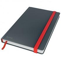 Zápisník Leitz Cosy s tvrdými hebkými deskami, linkovaný, šedý