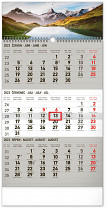 Kalendář nástěnný Krajina 3 měsíční šedý