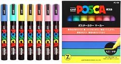 Popisovač POSCA PC-5M pro DIY použití hrot střední kulatý 7-sada pastelové barvy