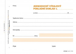Výdajový pokladní doklad jednoduchý OPTYS A6 NCR 100 listů OP1303
