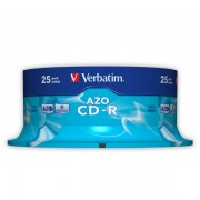 CD-R Verbatim AZO 52x 700MB Spindle_25_ks Crystal