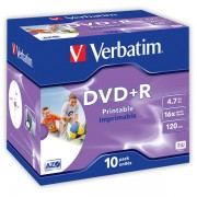 DVD+R Verbatim Printable 16x 4,7GB 10 ks Jewel Printable