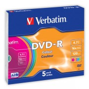 DVD-R Verbatim Color AZO 16x 4,7GB 5 ks Slim mix barev