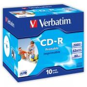 CD-R Verbatim Printable Super AZO 700MB 10 ks Jewel Silver