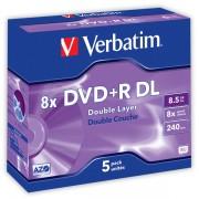 DVD+RDL Verbatim DLP AZO 8x 8,5GB 5 ks Jewel Silver