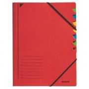 Třídicí desky s gumičkou Leitz A4, 7 dílů Červená