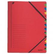 Třídicí desky s gumičkou Leitz A4, 12 dílů Červená