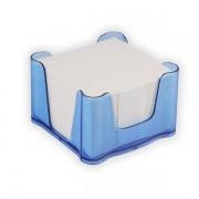 Zásobník se špalíčkem Office Transparent 95x95x60mm trans.modrý