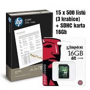 Papír HP COPY 15x500 listů + paměťová karta SDHC 16GB A4 80g bílá