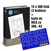 Papír HP COPY 15x500 listů + IKEA 300,- Kč A4 80g bílá