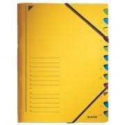 Třídicí desky s gumičkou Leitz A4, 12 dílů Žlutá