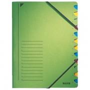 Třídicí desky s gumičkou Leitz A4, 12 dílů Zelená