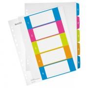 Celoplastové rejstříky 1-5 dělících listů Leitz WOW popisovatelné na počítači A4 Maxi Mix barev