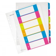 Celoplastové rejstříky 1-6 dělících listů Leitz WOW popisovatelné na počítači A4 Maxi Mix barev